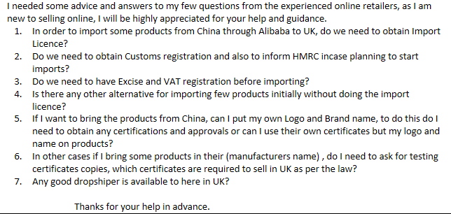 Advice on Import of products from outside UK/EU - General